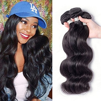 Junbeauty Hair Brazilian Virgin Hair 3 Bundles Deal 100% Unprocessed Virgin Brazilian Body Wave Hair Human Hair Weave Natural Black Color (14 16 18)