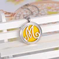 12 Pads Monogram M Perfume Essential Oil Diffuser Necklace Aromatherapy