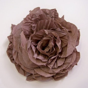 Large Silk Rose Artificial Flower Hair Clip/Pin Brooch, Burly Wood