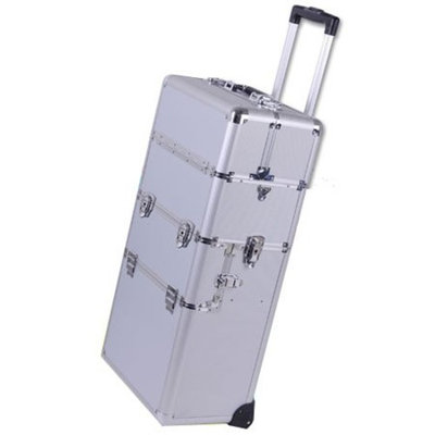 38-in 2in1 Professional Rolling Train Aluminum Cosmetic Makeup Case Silver w/ Key Lock Storage Trays Wheels Handle Strap Velvet Int Beauty Travel Detachable Tote Box by LeeMas Inc