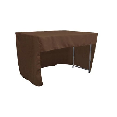 LA Linen TCpop-OB-fit-48x30x30-BrownP22 1.6 lbs Open Back Polyester Poplin Fitted Tablecloth Brown