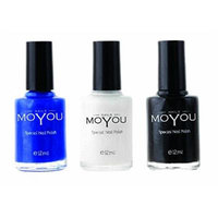 MoYou Nails Bundle of 3 Stamping Nail Polish: Black, Blue and White Colours used to Create Beautiful Nail Art Designs Sourced Directly from the Manufacturer
