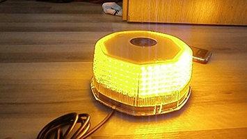 9milelake Round 240 LED Emergency Hazard Warning Light Mini Bar Strobe Light w/ Magnetic Base Dc 12v with Cigarette Adapter (Amber(yellow)) - Round