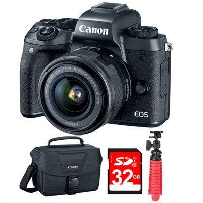 Canon EOS M5 Digital Camera w/ EF-M 15-45mm IS STM Lens Black + 32GB Bundle