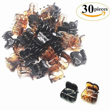 30 Pieces Mini Hair Clips Plastic Hairs Claws Barrette Pins Small Hairpin Clamps for Women and Girls, 0.6 Inch, Brown and Black