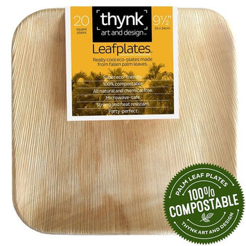 Thynk Leafplates - Premium Palm Leaf Plates - 9.5 Inch Square - All Natural 100% Compostable - Disposable - Perfect Party Plates - 20 Count - Better than bamboo []