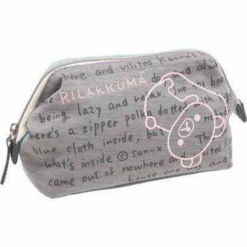 San-X Rilakkuma Cosmetic Case Wired Pouch Bag Sweat Series (CT79801)-Gray/Blue