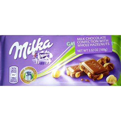 Milka Milk Chocolate with Whole Hazelnuts (Pack of 10)