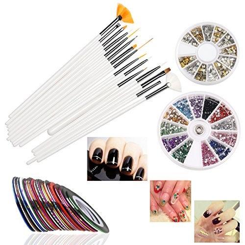 Nail Art Set,DIY Nail Design Tool with 30 Mixed Colors Striping Tapes Stickers,15 Drawing Polish Brush Set, 12 Colors Rhinestones, 3D Nail Art Gold/Silver Studs