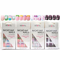 Adoro Night Out Nails 4 designs Pre-Glued Nail Tips Set of 12 in Style #10,1 Dozen Pack