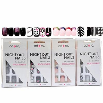 Adoro Night Out Nails 4 designs Pre-Glued Nail Tips Set of 12 in Style #07,1 Dozen Pack