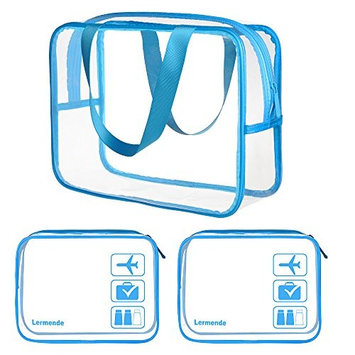 3pcs Lermende Clear Toiletry Bag Set TSA Approved Travel Business Trip Cosmetic Pouch Waterproof Luggage Makeup Bags in 2 Size - Blue