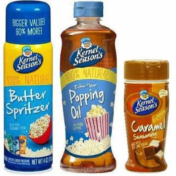 Kernel Season's Popcorn Topping Bundle of Movie Theater Butter Spritzer Spray, Movie Theater Popping & Topping Oil, and Caramel Popcorn Seasoning (Bundle Pack of 3)