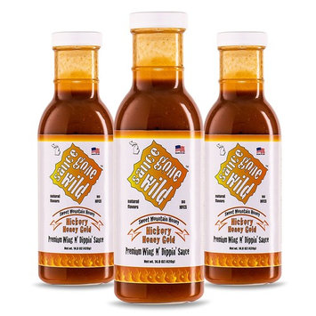 Sauce Gone Wild Wing Sauce - Honey Hickory Flavor - 13.1oz - 3 Bottles - Hot Marinade for Grilling & Cooking Chicken - Made in USA - Tasty Restaurant Style Wings at Home [Hickory Honey Gold - 13.1 Fl Oz]