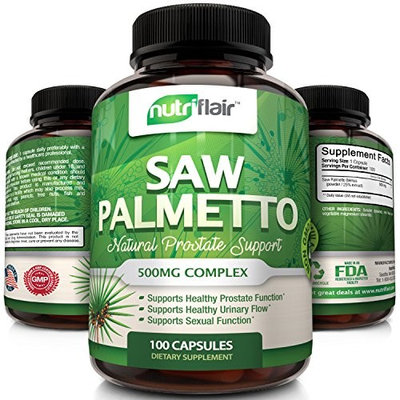 Extra Strength Saw Palmetto Supplement 500mg Complex - Natural Prostate Health Support - Helps Block DHT to Prevent Hair Loss and Helps Reduce Frequent Urination, Non GMO Ingredients
