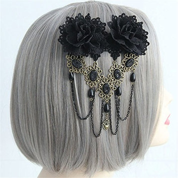 Vintage Black Rose Hair Clip Gothic Flower Bobby Pin Barrettes Hair Accessories