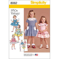 Simplicity Patterns SIMPLICITY VINTAGE 1950'S DRESS FOR TODDLER AND CHILD-1/2-1-2-3