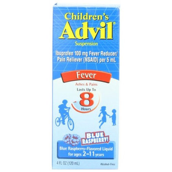 5 Pack Children's Advil Fever Ibuprofen Suspension Liquid Blue Raspberry 4 oz