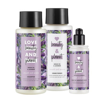 Love Beauty And Planet Smooth and Serene Shampoo, Conditioner and Leave In smoothie cream, Argan Oil & Lavender, 13.5 oz, 2 ct and 4 oz [Argan Oil & Lavender SH + CD + Oil]