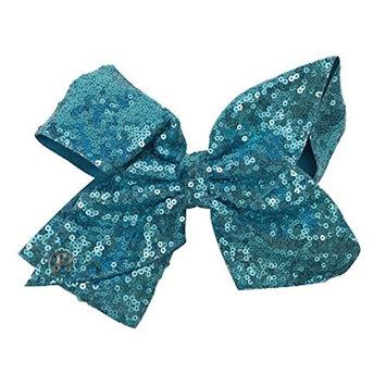 JoJo Siwa Large Cheer Hair Bow (Turquoise Sequined)