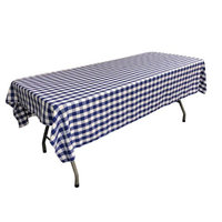 LA Linen TCcheck60x90-RoyalK50 Polyester Gingham Checkered Rectangular Tablecloth White & Royal Blue - 60 x 90 in.
