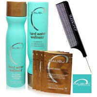Malibu C HARD WATER WELLNESS Collection Kit - Shampoo, Conditioner (with Sleek Steel Pin Tail Comb)