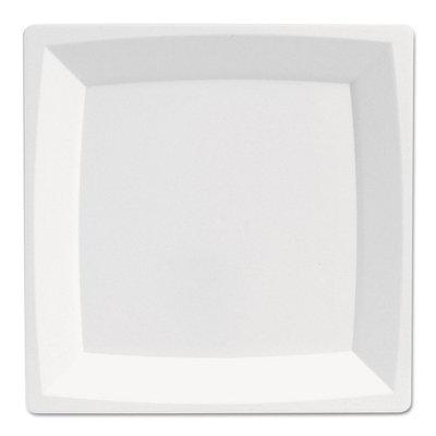 WNA Milan Plastic Dinnerware, Plate, 8.25 in sq, Plastic, White -WNAMS9W