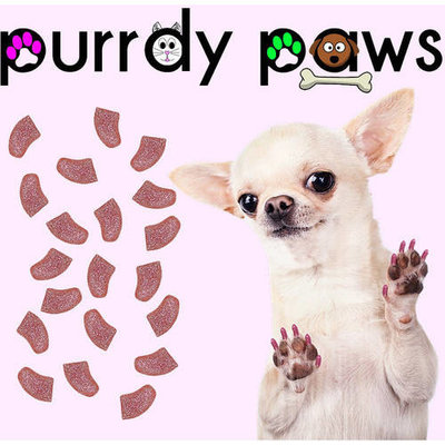 Purrdy Paws Soft Nail Caps for Dogs, 40-Pack, Pink Glitter Large