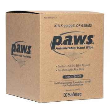 Paws Antimicrobial Disinfectant Hand Wipe 100/box by Safetec