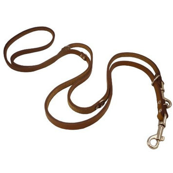 6-Way European Multifunctional Leather Dog Leash, Adjustable Schutzhund Lead Brown 41