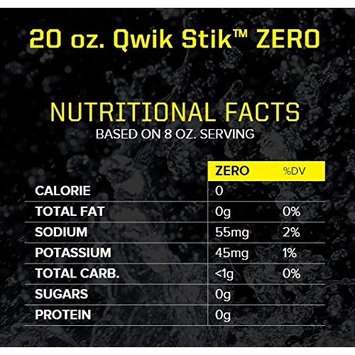 Sqwincher ZERO Qwik Stik - Sugar Free Electrolyte Powdered Beverage Mix, Fruit Punch 060102-FP (Pack of 50)