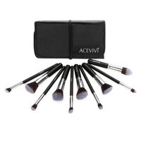 Acevivi Professional 10pcs Soft Cosmetic Tool Makeup Brush Kit Cosmetics Foundation Brush with Pouch