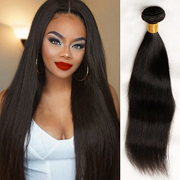 10A Peruvian Virgin Straight Hair 3 Bundles with Free Part Closure (12 14 16+10) 100% Unprocessed Peruvian Straight Human Hair Weft with Lace Closure Natural Hair Extensions Peruvian Straight Hair
