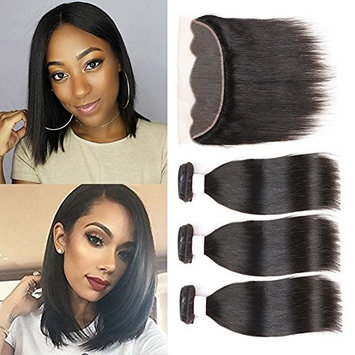 10A Short Straight Bundles with Closure 3 Bundles Wavy Hair Brazilian Virgin Straight Weave with Free Part Lace Closure 50g/pc Short Curly Hair Straight with Closure
