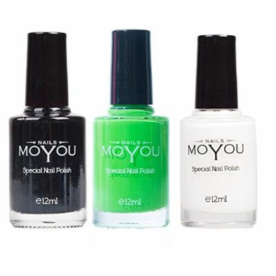 MoYou Nails Bundle of 3 Stamping Nail Polish: Black, White and Atlantic Green (Maleficence) Colours used to Create Beautiful Nail Art Designs Sourced Directly from the Manufacturer