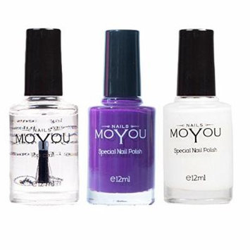 MoYou Nails Bundle of 3 Stamping Nail Polish: Top Coat, White and Royal Purple (Purple People Eater) Colours used to Create Beautiful Nail Art Designs Sourced Directly from the Manufacturer