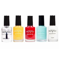 MoYou Nails Bundle of 5 Stamping Nail Polish: Gold, Top Coat, White, Black and Red Colours Used to Create Beautiful Nail Art Designs Sourced Directly from the Manufacturer