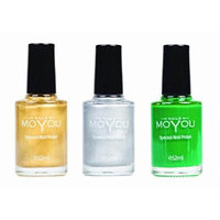 MoYou Nails Bundle of 3 Stamping Nail Polish: Gold, Silver and Green Colours used to Create Beautiful Nail Art Designs Sourced Directly from the Manufacturer