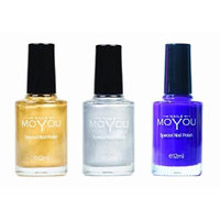 MoYou Nails Bundle of 3 Stamping Nail Polish: Gold, Silver and Royal Purple (Purple People Eater) Colours used to Create Beautiful Nail Art Designs Sourced Directly from the Manufacturer