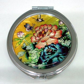 Mother of Pearl Green Leaf Cosmetic Makeup Hand Mirror with Peony Design