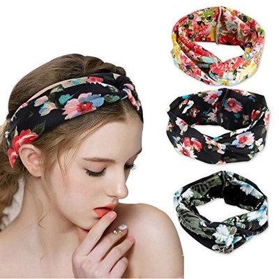 Women Boho Hair Headband Head Bands Floral Style Criss Cross Headbands for Women Beach Accessories