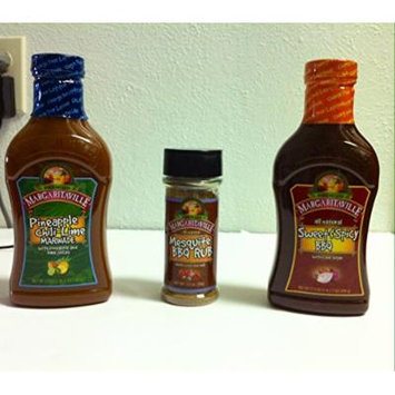 Meat Maniac All Natural Gourmet Sauces Sampler Gift Pack- Margaritaville Sweet & Spicy BBQ Sauce (17.5oz), Margaritaville Pineapple Chili Lime Marinade (17.5oz) & Margaritaville Mesquite BBQ Rub (3.5oz)