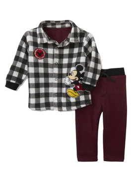 Disney Baby Infant Boys Mickey Mouse Fleece Plaid Shirt & Pant Set 0-3m