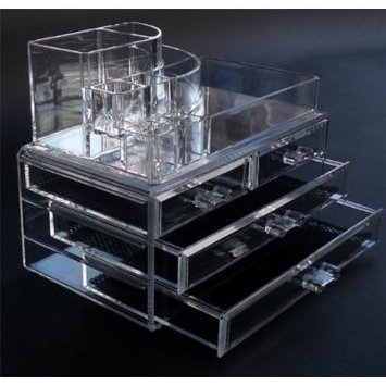 Acrylic Makeup Organizer Offers Total Makeup Storage, Elegant Shatterproof Two Part Design, 5 Tiers, Lipstick Organisation, Makeup Organizer Solution.