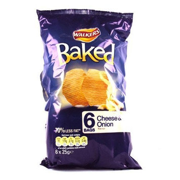 Walkers Baked Cheese and Onion Crisps 6 Pack 150g