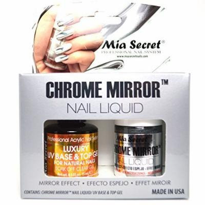 Mia Secret Chrome Mirror Nail Liquid UV Base n Top Gel Set Mirror Effect Polish + FREE EARRING