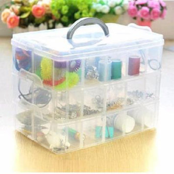 New 3 Layer 30 Compartments Plastic Storage Box Cosmetic Case Compact