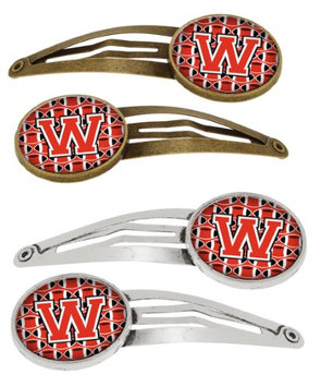Letter W Football Scarlet and Grey Set of 4 Barrettes Hair Clips CJ1067-WHCS4