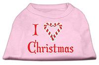 Mirage Pet Products 512508 XSLPK I Heart Christmas Screen Print Shirt Light Pink XS 8