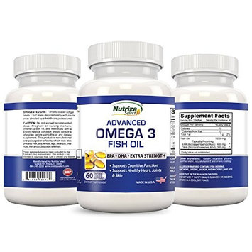 Omega 3 Fish Oil - High Potency - EPA DHA Softgel Capsules - Concentrated, 1-Capsule Dose Contains 1000mg of Omega 3 Fatty Acids - Made in USA in GMP Certified Facility - Odorless - Enteric Coated